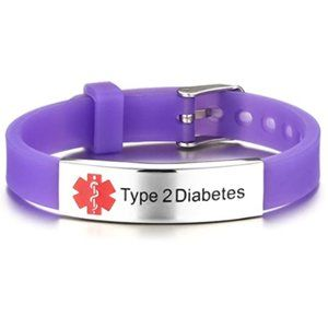 Type 2 Diabetes Medical Silicone Band Stainless